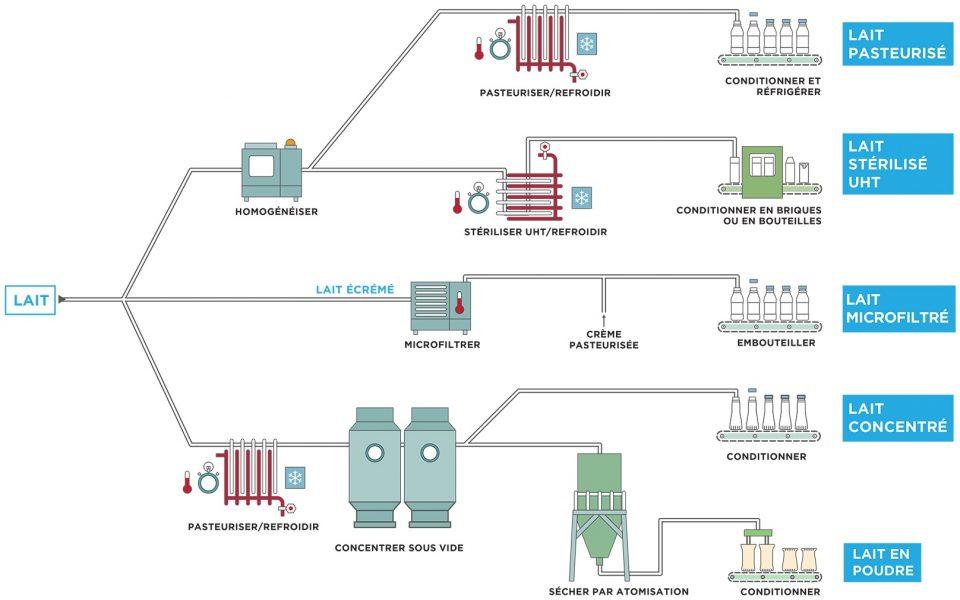 Processus de transformation du lait pasteurisé, stérilisé UHT, microphiltré, concentré, en poudre