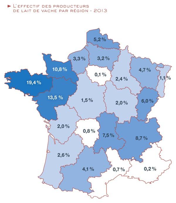 Effectif des producteurs de lait de vache par région 2013