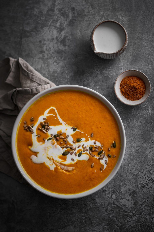 Soupe de potiron lait de coco et curry fait maison